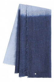 Woven scarf with dip-dye effect -Sky High