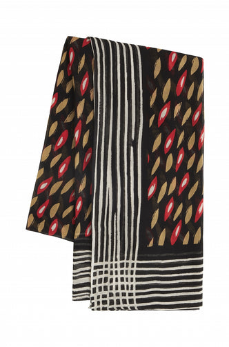 Scarf with a mixture of prints  -Red