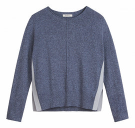 Long sleeves mottled sweater -Navy