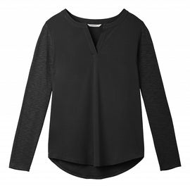 Longsleeved top with smooth front - Black
