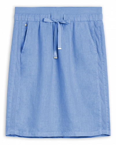 Linen midi skirt with mesh details -Fresh Sky
