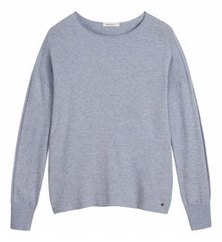 Casual sweater in a fine knit -Blue Grey HTR