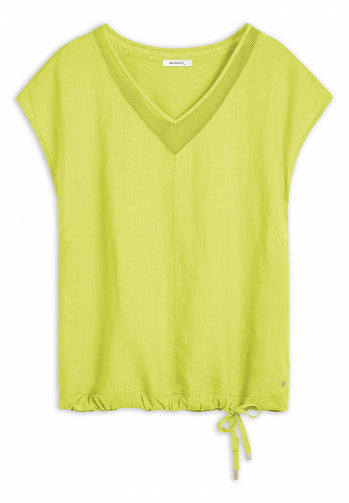 T-shirt with mesh details -True Lime