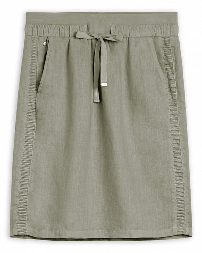 Linen midi skirt with mesh details -Light Olive