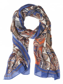 Scarf with paisley print  -Merlin Blue