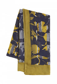 Scarf with multicoloured floral print -Navy