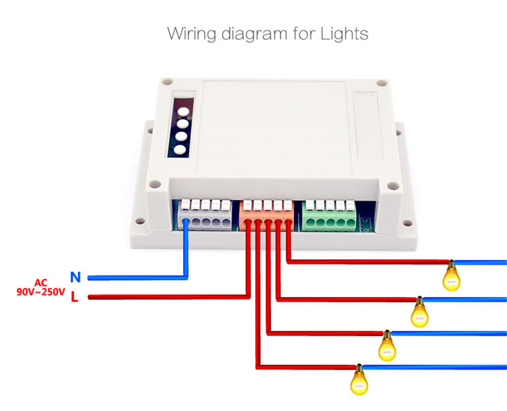 Itead Sonoff 4ch 4gang Din Rail Mounting Wireless Control Wifi 4 Gang Wiring Diagram Smart Switch Intellige Home Light