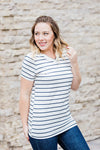 IN STOCK Classic V-Neck Tee - White with Black Stripes