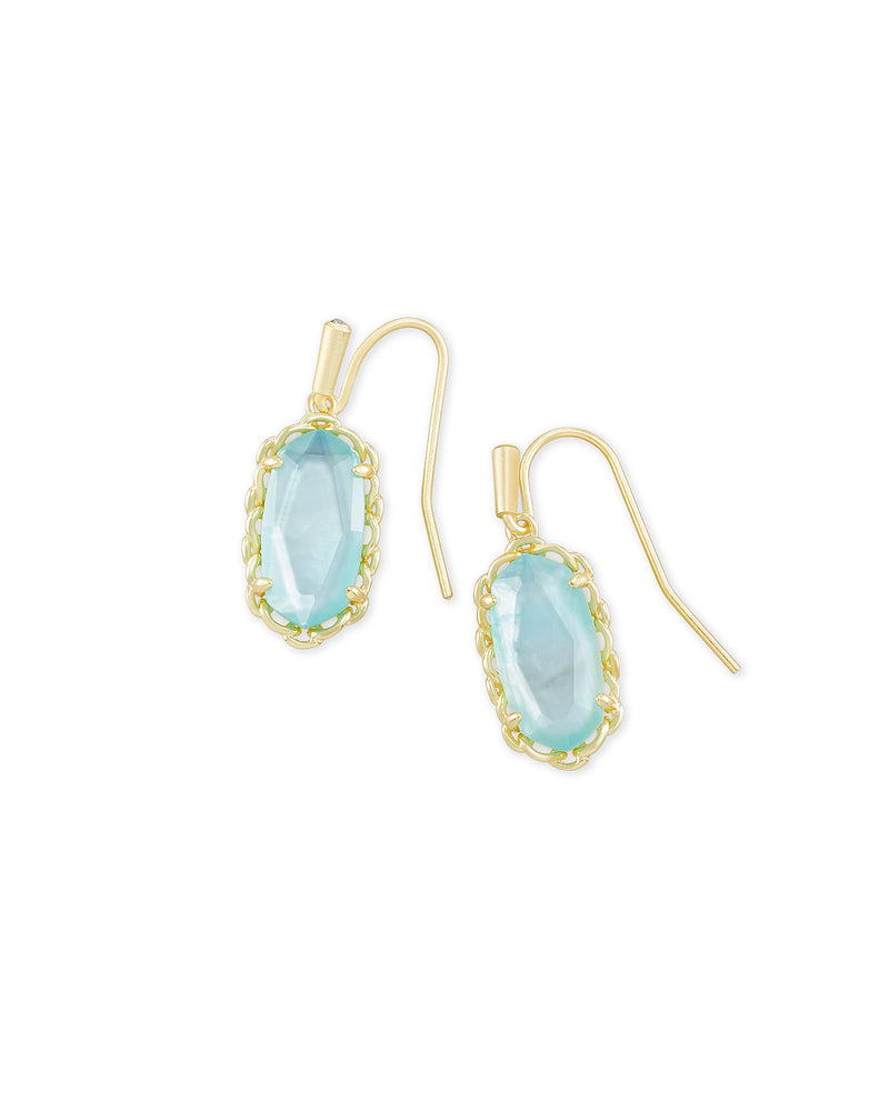 Macrame Lee Gold Drop Earrings In Gold Aqua Illusion