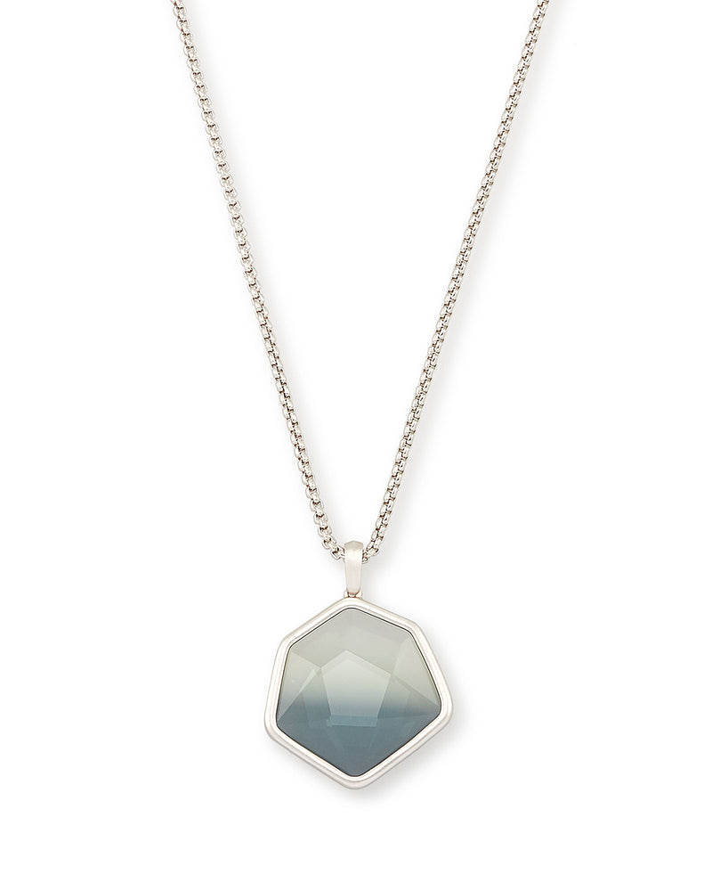 Vanessa Silver Long Pendant Necklace In Charcoal Gray Ombre