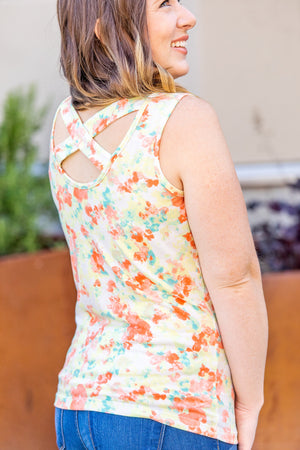 IN STOCK Callie Criss Cross Tank- Orange Watercolor