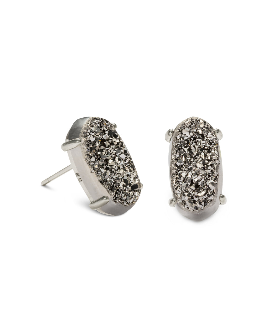 Betty Silver Stud Earrings In Platinum Drusy