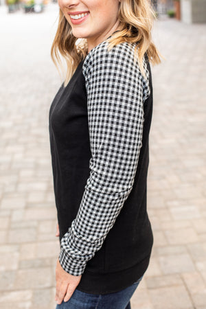 11.23 Arrival White and Black Plaid Sleeve Pullover COMING SOON