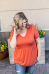 IN STOCK Sarah Ruffle Top - Pumpkin