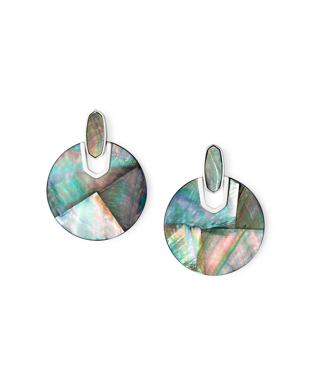 Didi Bright Silver Statement Earrings In Black Mother-Of-Pearl