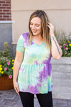 IN STOCK Classic Ruffle V-Neck - Purple & Mint Tie Dye