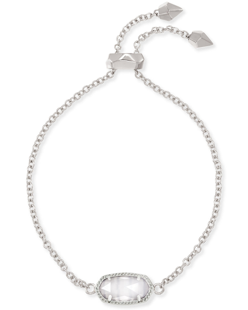 Elaina Silver Adjustable Chain Bracelet In White Pearl