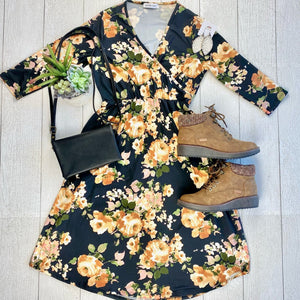IN STOCK Taylor Dress - Black and Yellow Floral