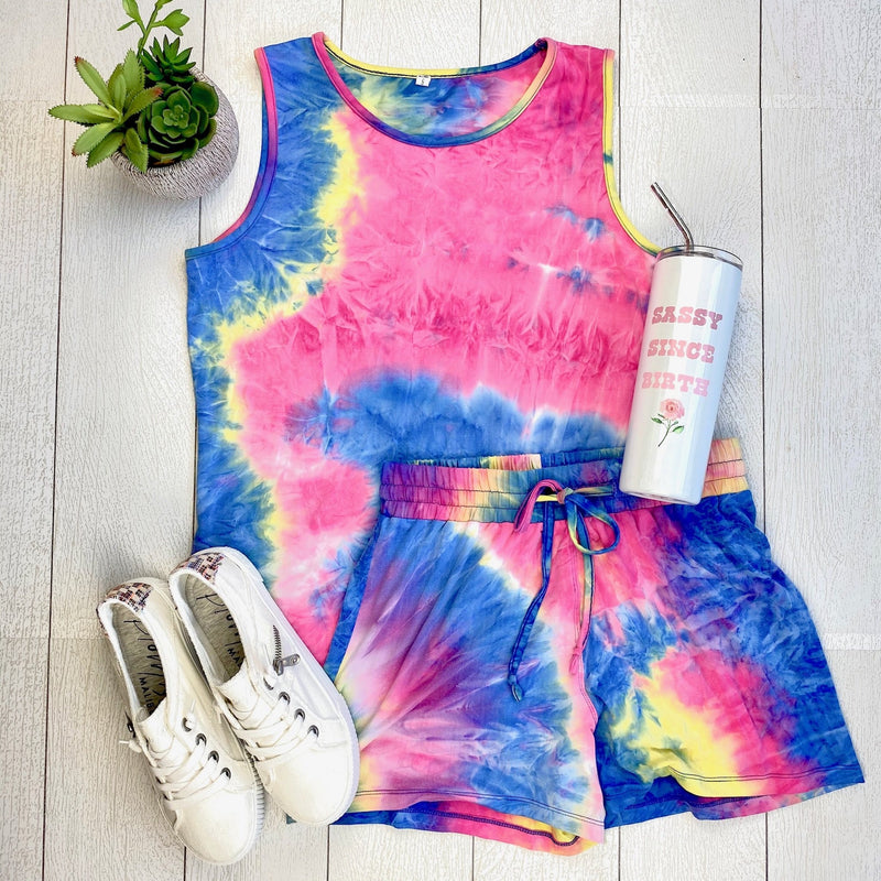 IN STOCK Rainbow Tie Dye Shorts and Tank Set