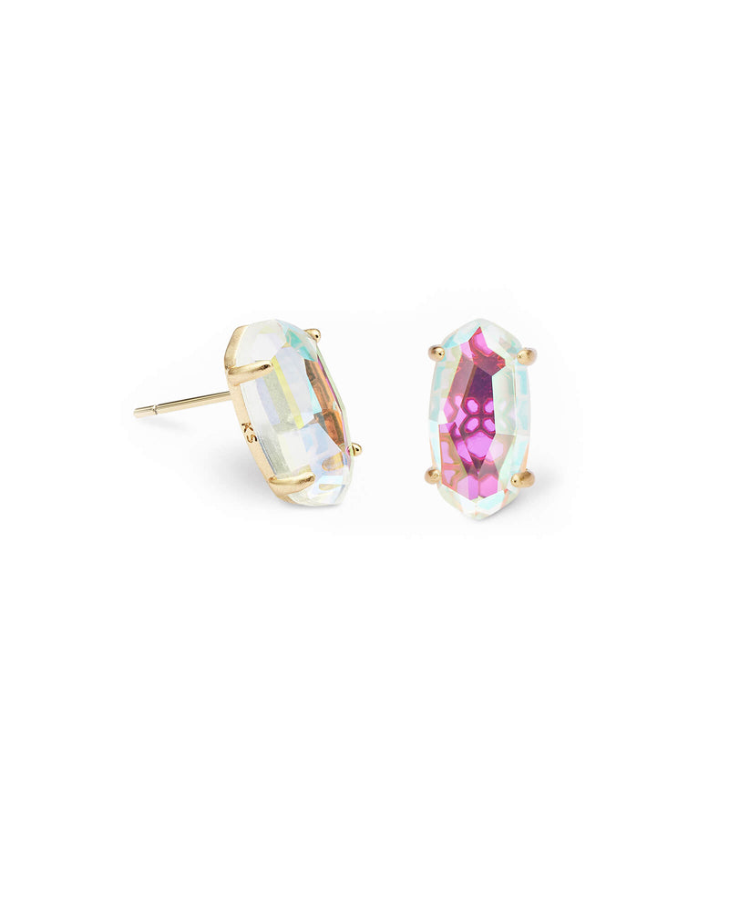 Betty Gold Stud Earrings In Dichroic Glass