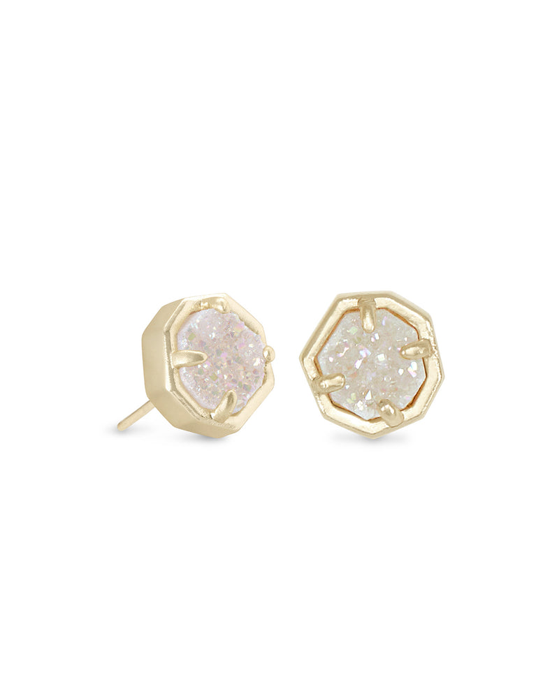 Nola Gold Stud Earrings In Iridescent Drusy