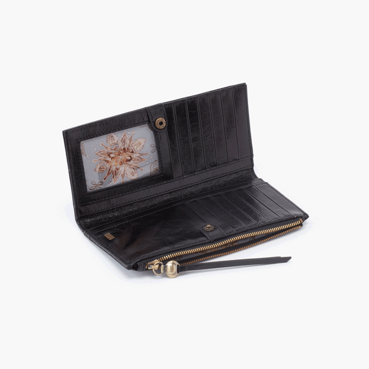 Ode Wallet- Black Vintage Hide