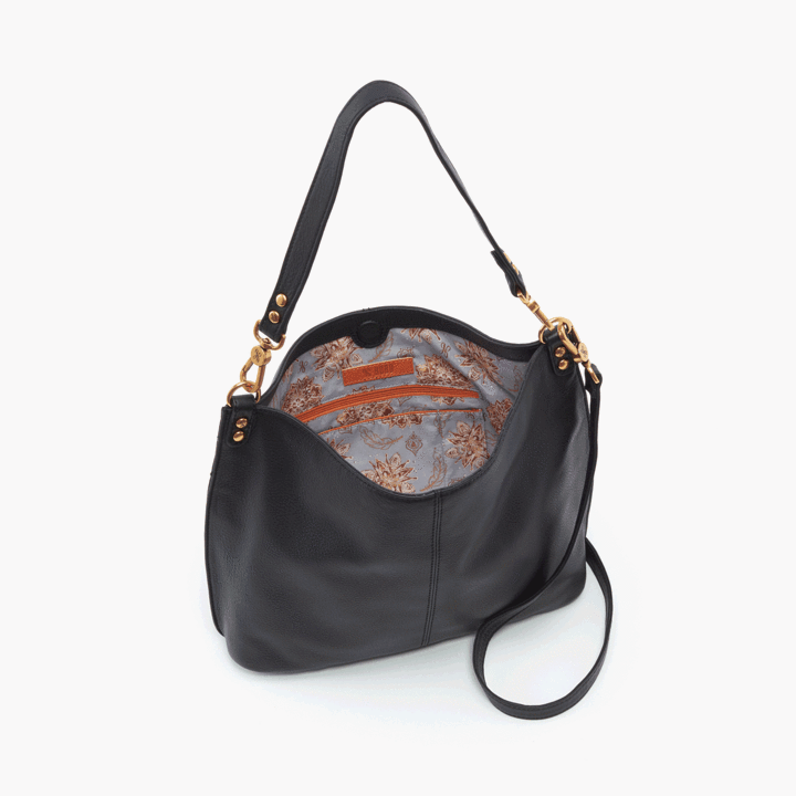 Pier Crossbody- Black Velvet Hide