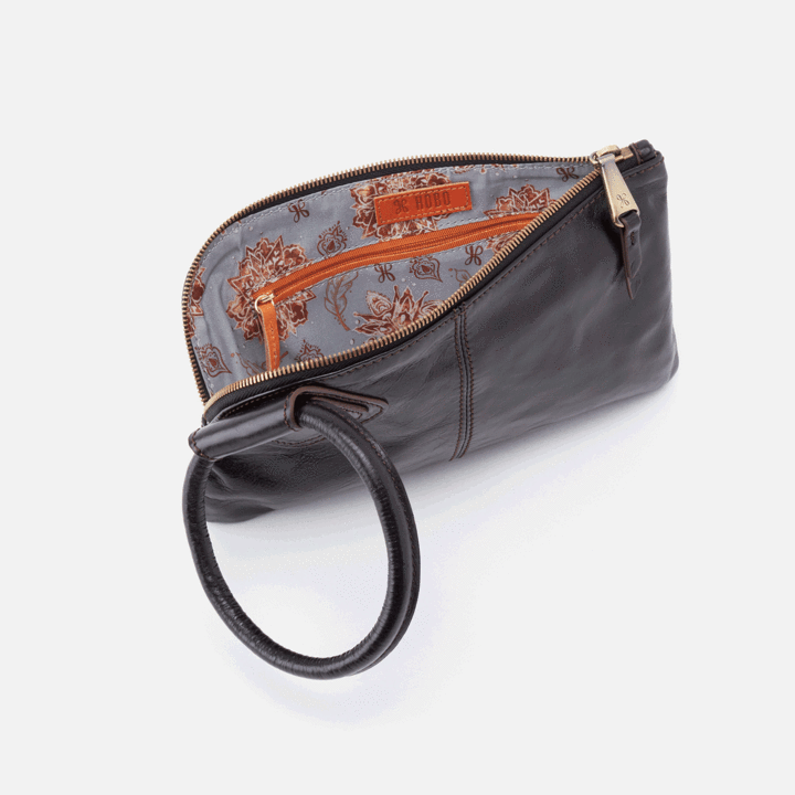 Sable Wristlet Clutch- Black Vintage Hide
