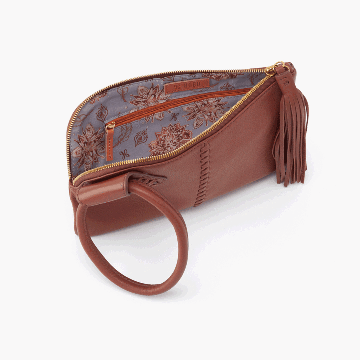 Sable Wristlet Clutch- Toffee Velvet Hide