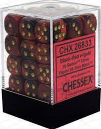 Chessex D6 36 Pack - Black-Red With Gold Gemini 12mm Pipped  D6 Dice Block - Comic Warehouse