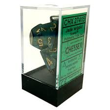 Chessex Polyhedral 7-Die Set - Scarab - Jade With Gold - Comic Warehous