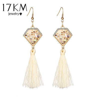 17KM Bohemian Multicolor Tassel Hook Dangle Earrings Brincos Crystal Long  Chandelier Geometric Earring for Women Girls 830887d1caed