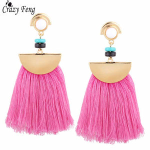 Crazy Feng 2017 Women Boho Pompom Fringe Earrings Black Red Blue Fashion  Tassel Earrings Drops Large cac39a9baa65