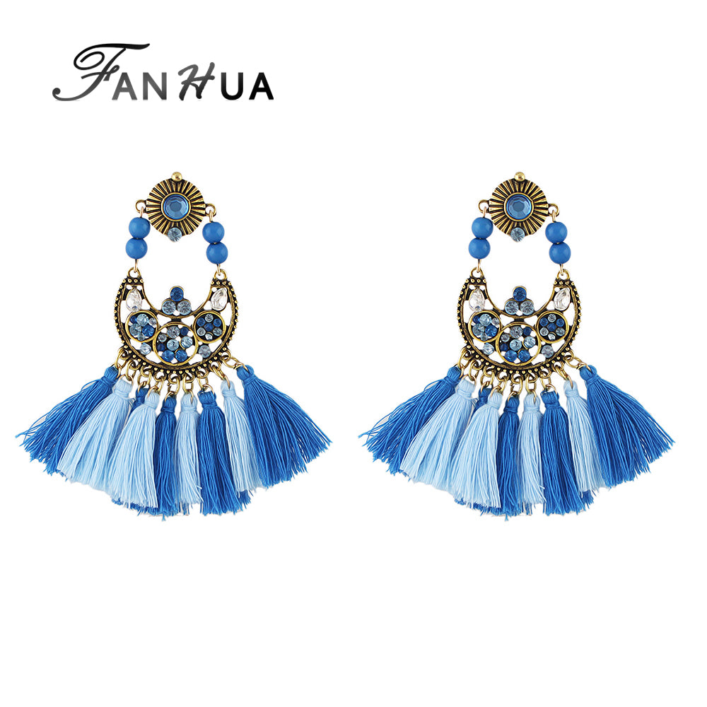 ... FANHUA Chandelier Earrings Luxury Bohemian Style Antique Gold with Blue  Rhinestone Tassel Earring for Women Ethnic ... - FANHUA Chandelier Earrings Luxury Bohemian Style Antique Gold With