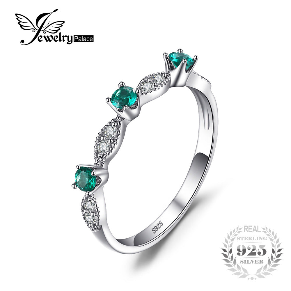 0e452a472e6e JewelryPalace 3 stones Round Created Emerald Engagement Wedding Rings For  Women Genuine 925 Sterling Silver Fashion ...