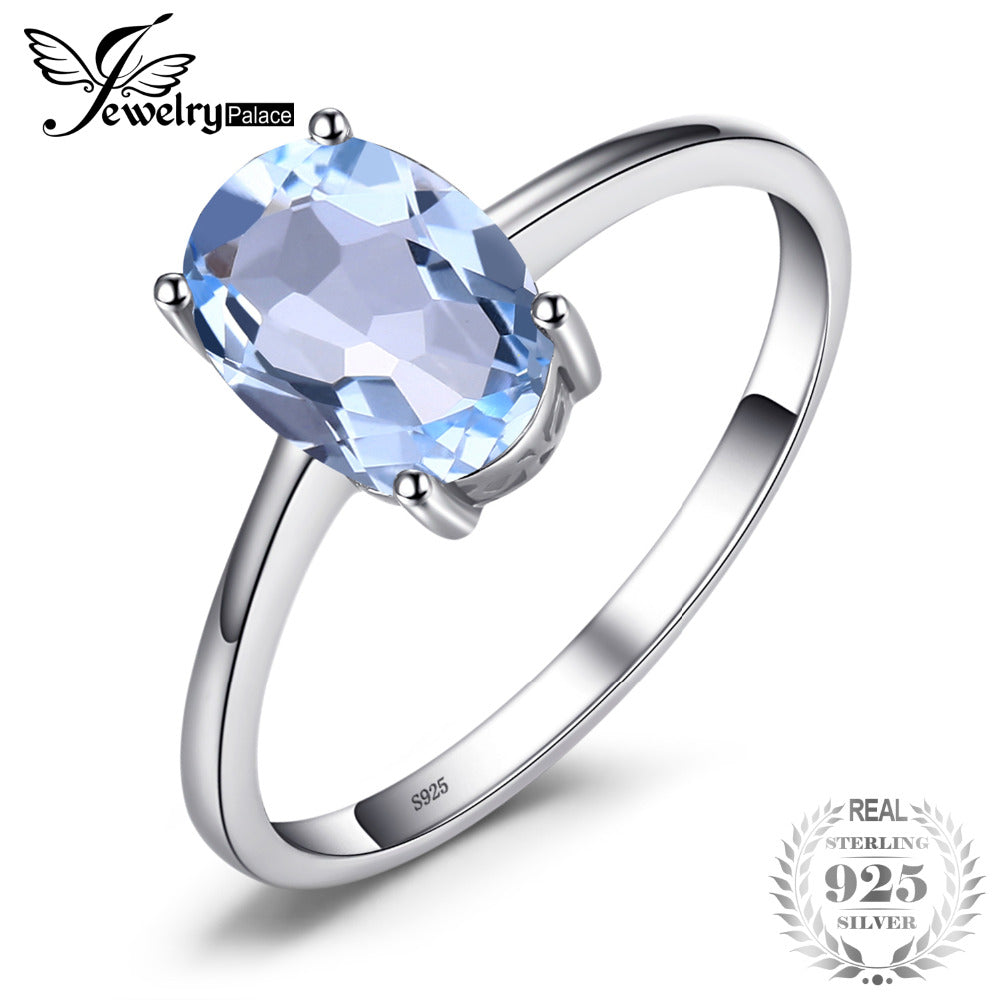 9cc31bfe6cc4 JewelryPalace Oval 1.5ct Natural Sky Blue Topaz Birthstone Solitaire Ring  Solid 925 Sterling Silver Fine ...