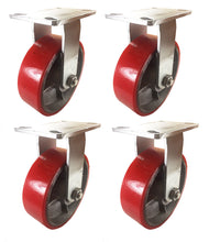"8"" x 2 1/2"" Red Polyurethane on Cast Iron Casters -  4 Rigids"