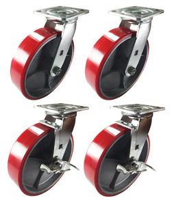 "8"" x 2"" Red Polyurethane on Cast Iron Casters-2 Swivels and 2 Swivel with Brake"