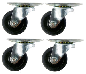 "3"" x 1-1/4"" Hard Rubber Wheel Casters (A1) - 4 Swivels"