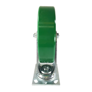 "8"" x 2"" Green Polyurethane on Cast Iron Casters -  Swivel"