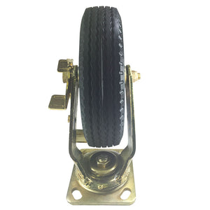 "8"" x 2-1/2"" Flat free Wheel Caster Brass plated - Swivel with a Brake"