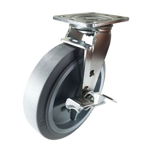 "8"" x 2"" Non-Marking Rubber Tread Plastic Core Caster  - Swivel with Brake (Flat)"