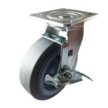 "6"" x 2"" Heavy Duty Non-Marking Rubber Wheel Caster - Swivel with Brake  (Flat)"