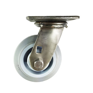 "5"" X  2"" Stainless Steel  Non-Marking Rubber Wheel Caster - Swivel (Flat)"