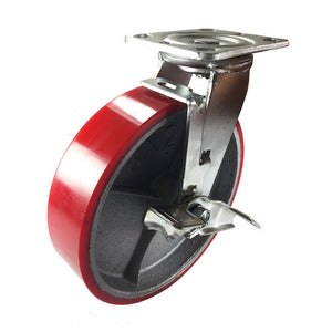 "8"" x 2"" Red Polyurethane on Cast Iron Casters -  Swivel with Brake"