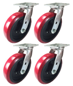 "8"" x 2"" Heavy Duty ""Polyurethane Wheel"" Caster - 4 Swivels"