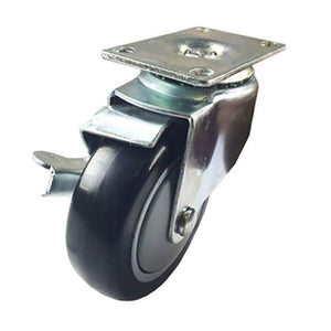 "4"" x 1-1/4"" Polyurethane on Plastic Caster (A1) - 1 Swivel with Brake"