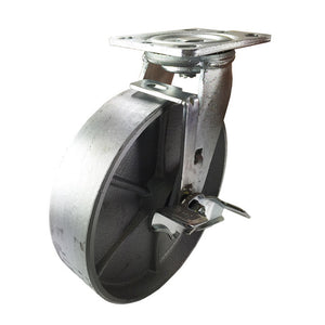 "8"" x 2"" Heavy Duty ""Steel Wheel"" Caster -  Swivel with Brake"