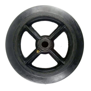 "10"" x 2"" Rubber on Cast Iron Wheel with Bearing - 1 EA"
