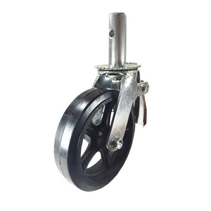 "Scaffold Caster 8"" x 2"" Wheels w/ Locking Brakes 1-3/8""  Stem 500 lbs. Capacity"